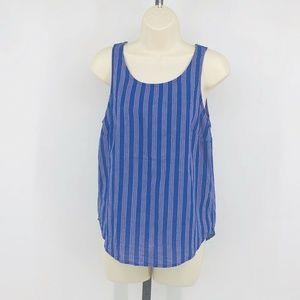 Blue Striped Woven Tank Top Womens XS